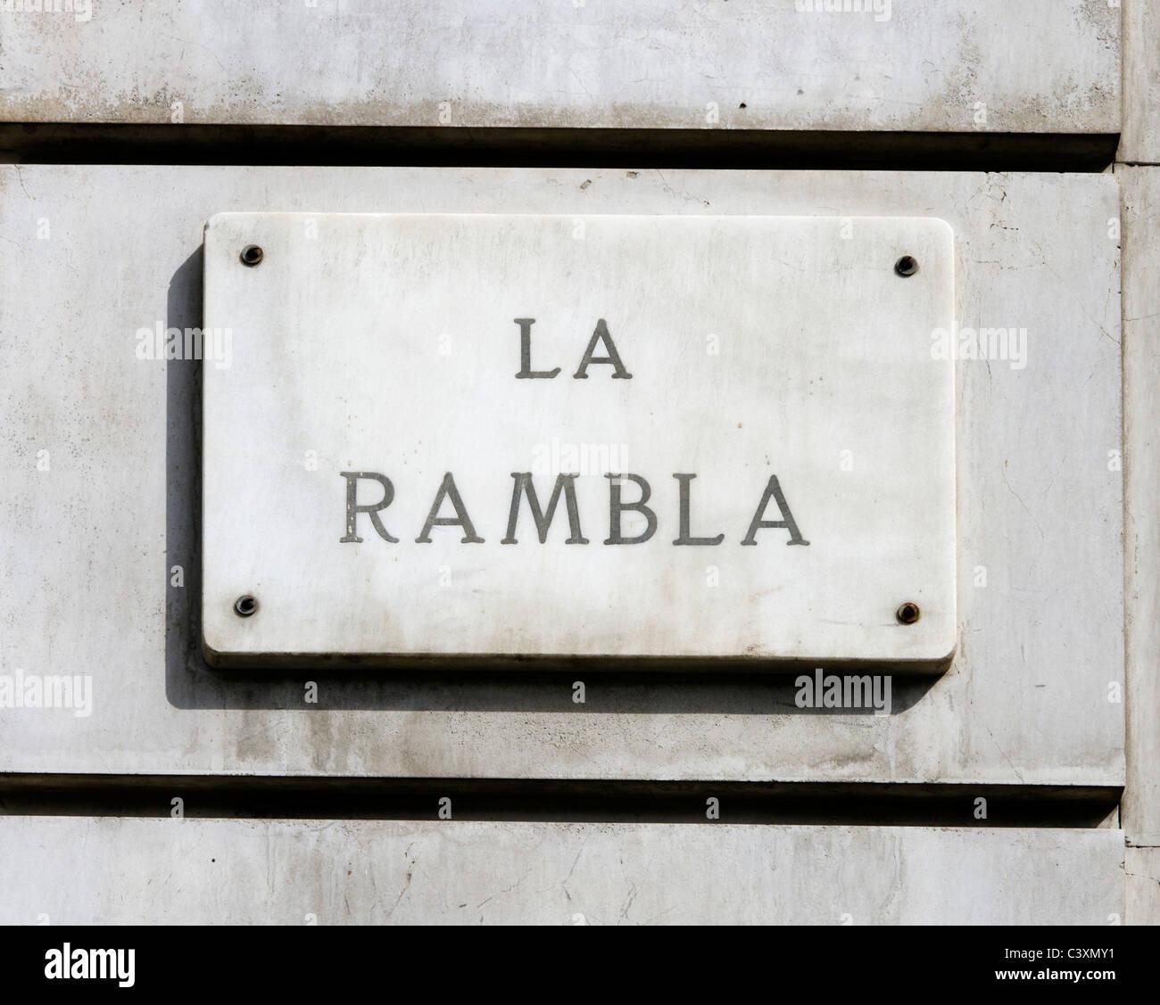 Straßenschild für La Rambla (Las Ramblas), Barcelona, Katalonien, Spanien Stockbild
