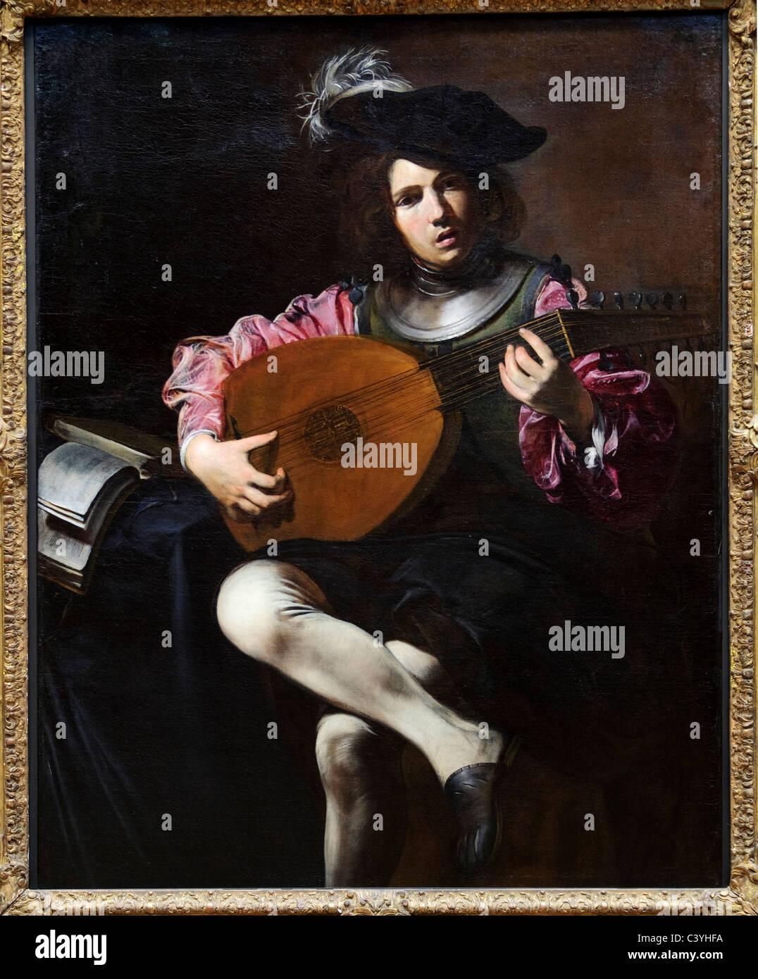 Der Lautenspieler, ca. 1626, von Valentin de Boulogne, Stockbild