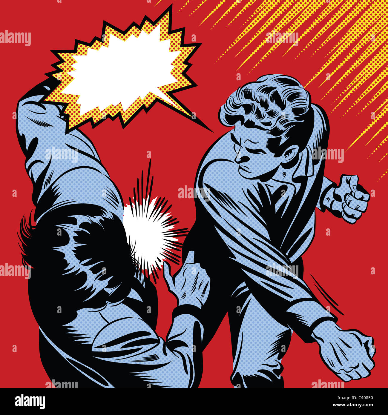 Ein Retro-Comic-Stil-Abbildung eines Mannes Stanzen einer person Stockbild