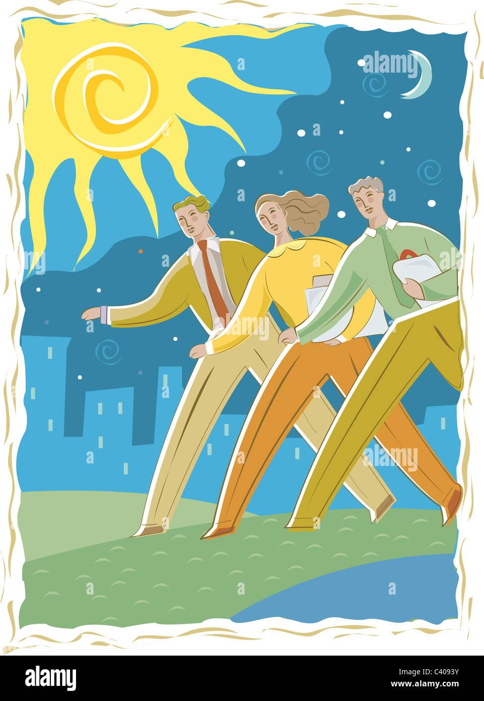 Illustration der drei Geschäftsleute Stockbild