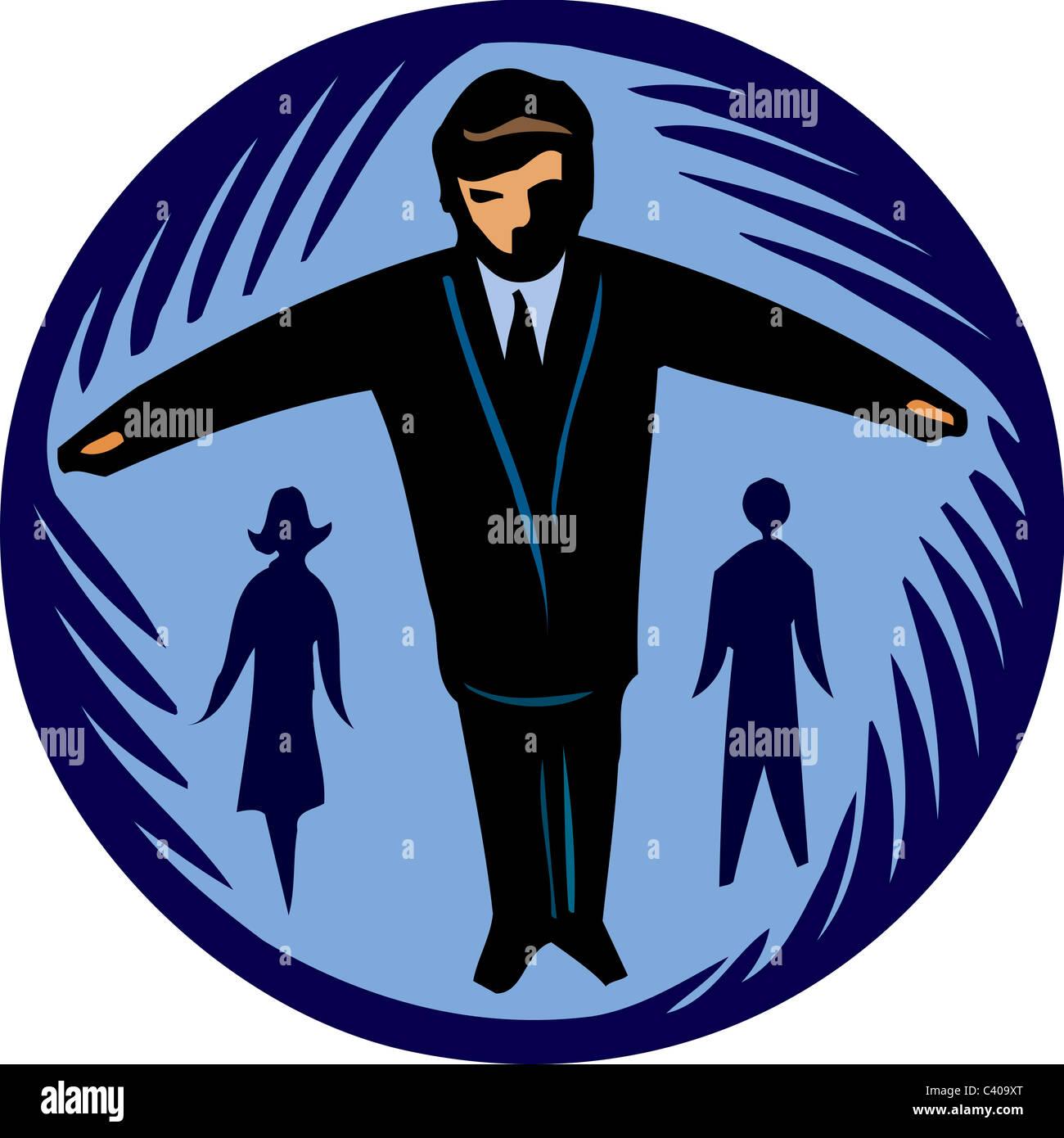 Abbildung eines Geschäftsmannes stehend mit seinen Armen Stockbild