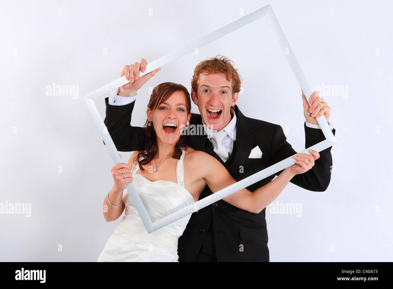 Bild, Bilderrahmen, Braut, Braut und Bräutigam, heiraten, Bräutigam ...