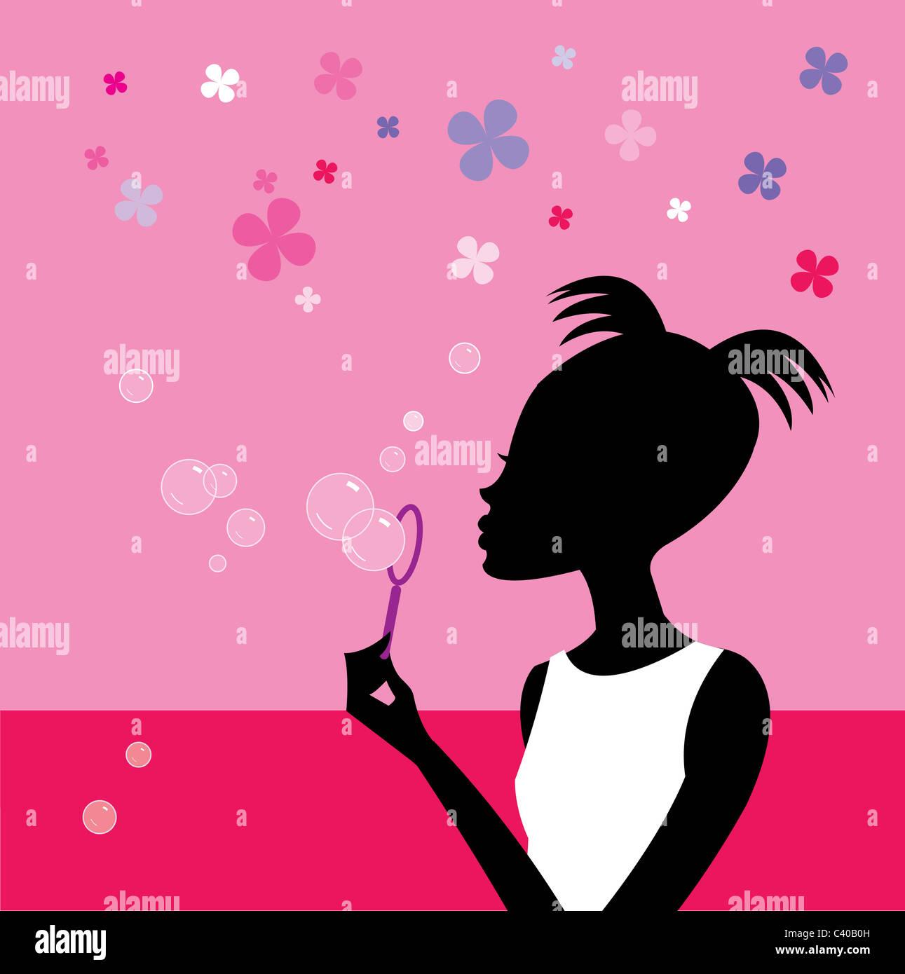 Abbildung einer Frau bläst Seifenblasen Stockbild