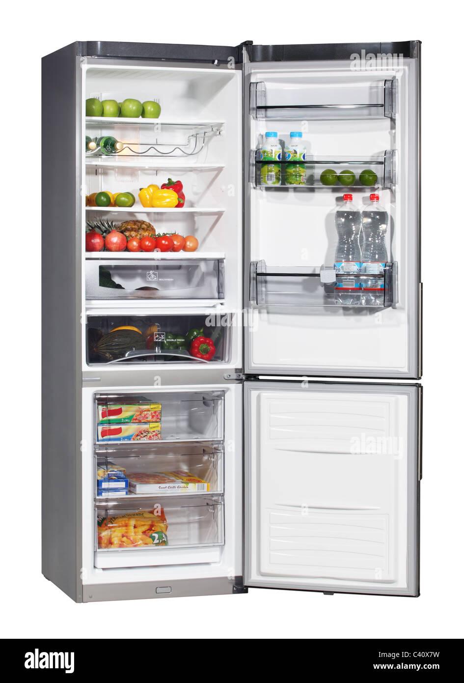 Zwei Türen INOX Kühlschrank isoliert auf weiss Stockfoto, Bild ...