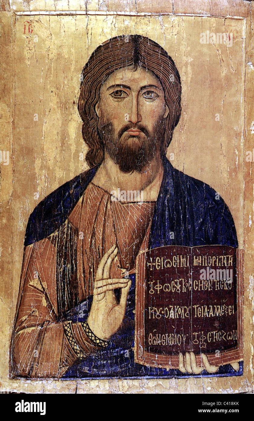 Religion, Jesus Christus, die Bibel halten und mit der anderen Hand ...