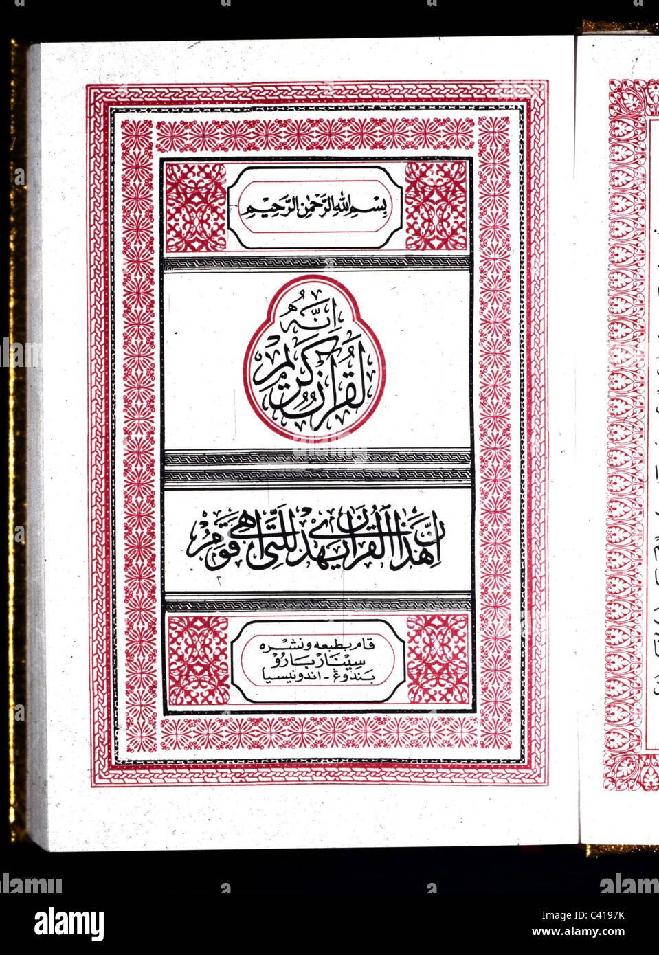 Religion, Islam, Koran, arabische Zeichen in einen Koran, Arabisch, Arabisch, Arabisch, arabische Welt, Skript, Stockbild