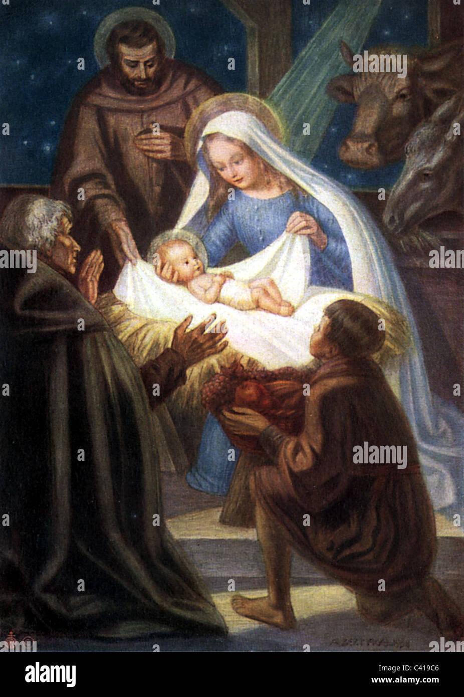 Weihnachten, Krippenspiel, Heilige Maria, Josef und das Jesuskind im ...