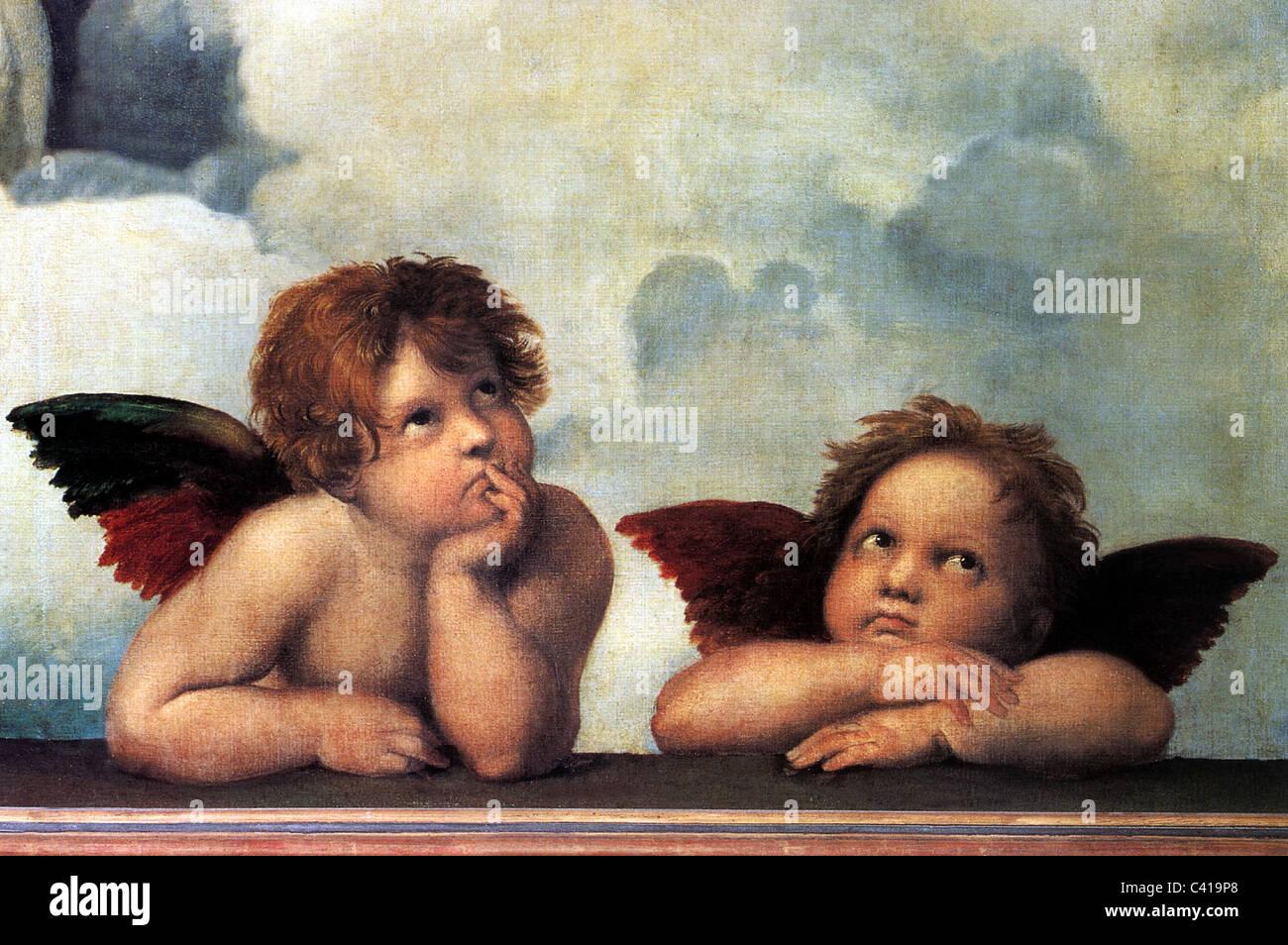 Bildende Kunst, Raphael, Santi: 'Die Engel der Sixtinischen Madonna', Detail aus dem Gemälde 'Sistine Madonna', Stockfoto