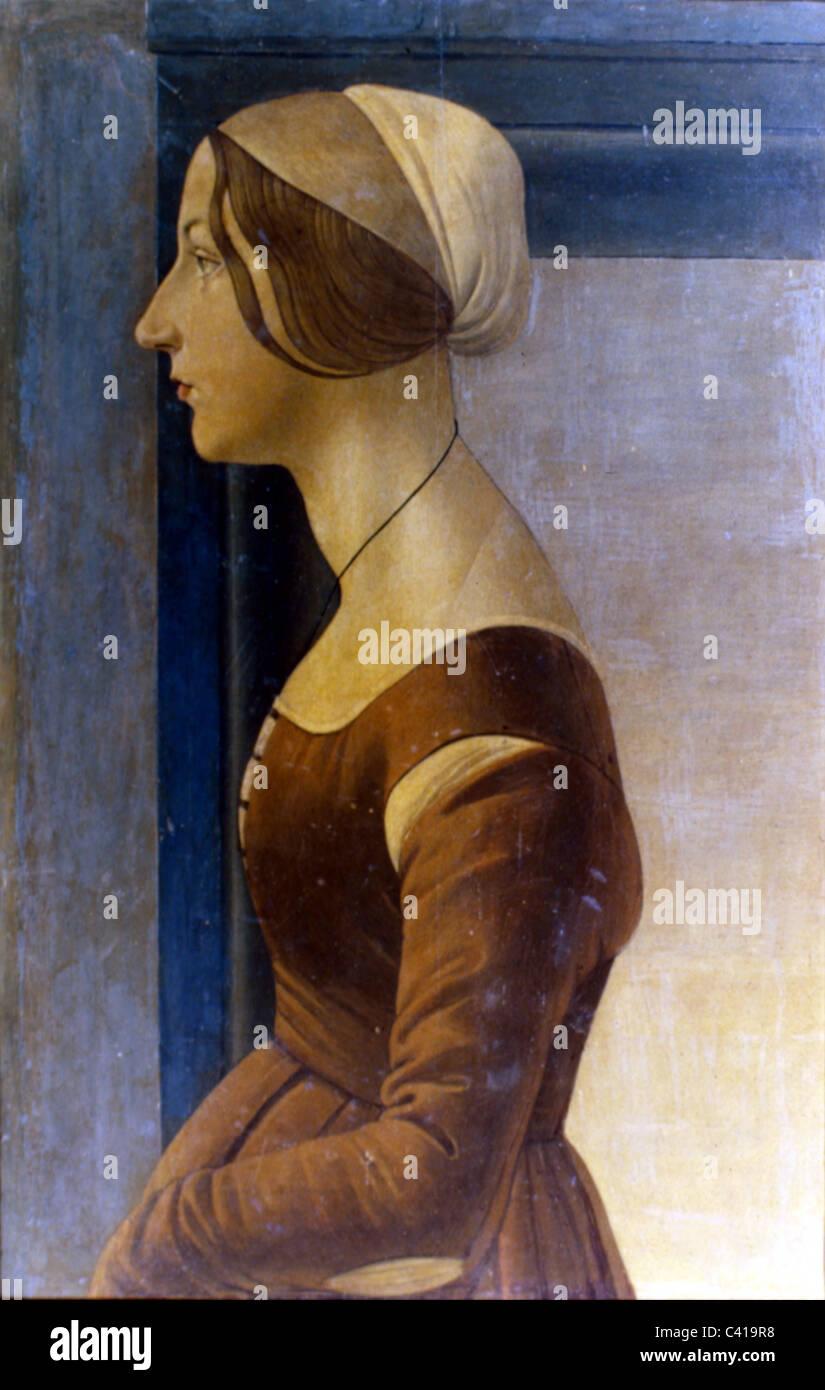 Kunst, Botticelli, Sandro (1444/1445 - 1510), Malerei, 'Portrait einer jungen Frau', Öl auf Platte, ca. 1475, Galleria Stockfoto