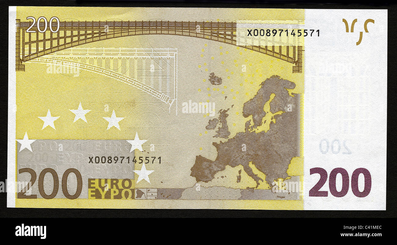 geld banknoten euro 200 euro schein r ckseite. Black Bedroom Furniture Sets. Home Design Ideas