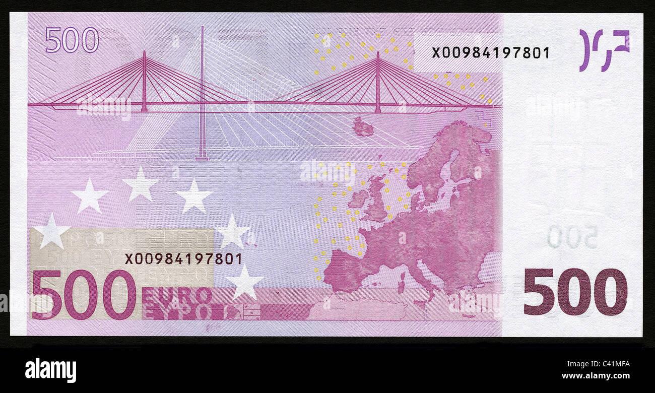 geld banknoten euro 500 euro schein r ckseite banknote geldschein rechnung banknoten. Black Bedroom Furniture Sets. Home Design Ideas