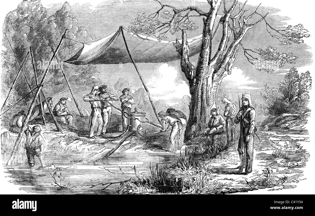 """Veranstaltungen, zweiten Anglo-birmanischen Krieg 1852 - 1853, Matrosen des Schiffes """"Ferooz"""" und Soldaten Stockbild"""
