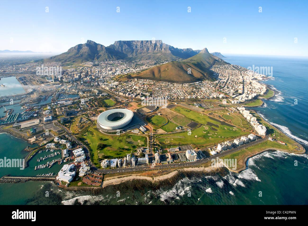 Luftbild von der City of Cape Town, Südafrika. Stockbild