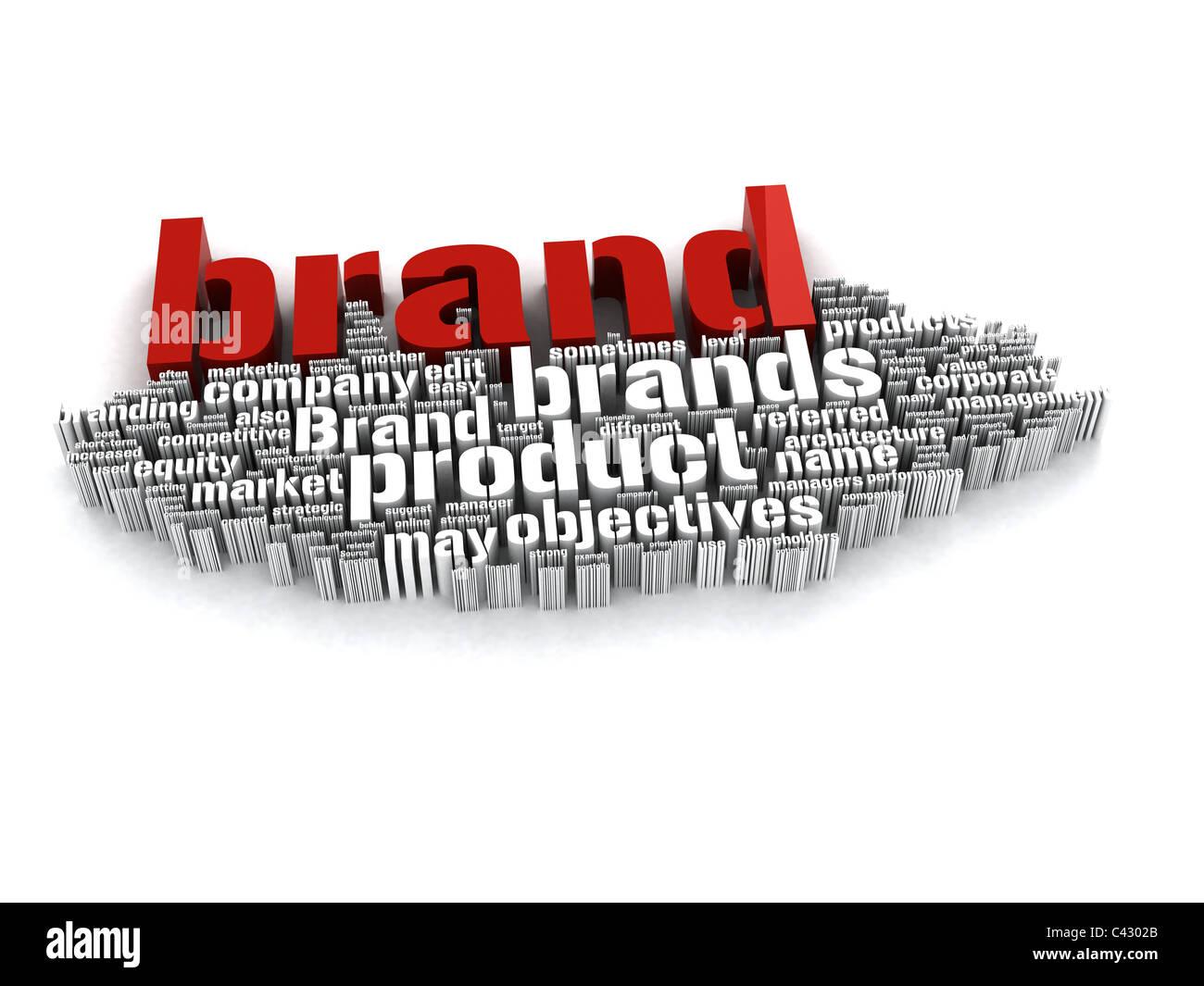 3d-Rot und Weiß branding Wort collage riesige Gruppe von Branding verwandte Begriffe versammeln auf weißem Stockbild