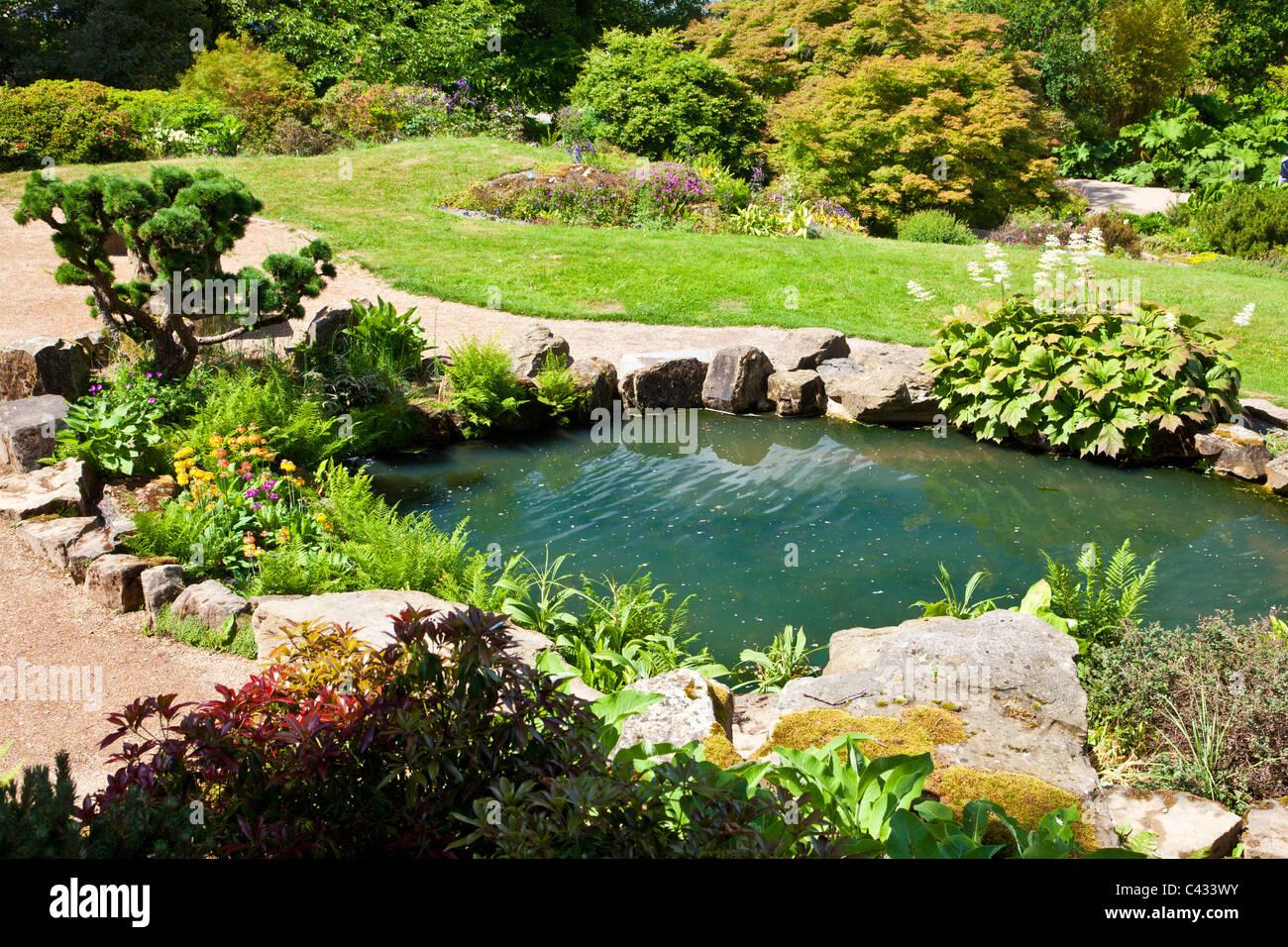 Ein Kleiner Teich Im Steingarten An Der RHS Wisley, Surrey, England, UK  Stockbild