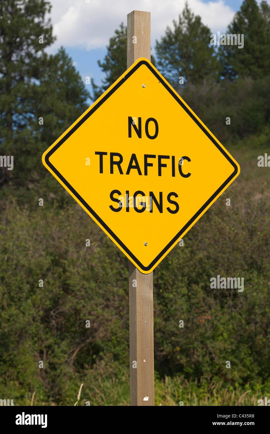 """Zeichen für """"Keine Verkehrszeichen"""" Palouse Washington USA Stockbild"""