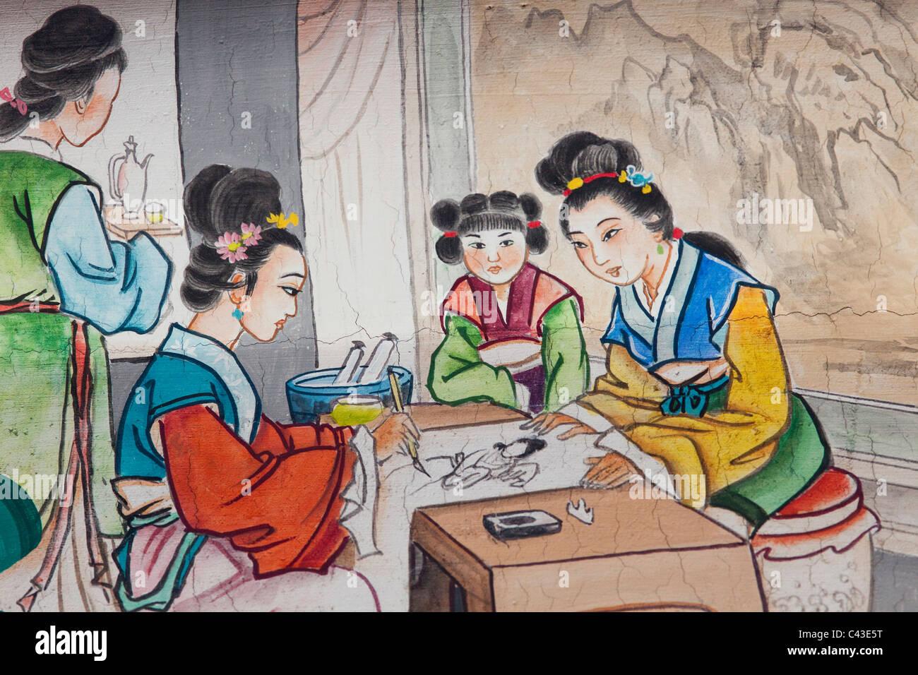 Asien China Peking Sommerpalast Yiheyuan Buddhistische Duft Pavillon Malerei Wandmalerei Kunst Chinesische Kunst Manchu Dy Stockfotografie Alamy