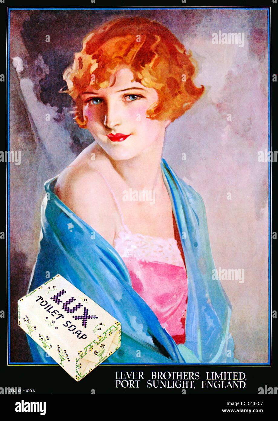 Lux Feinseife, 1932-Werbung für die Lever Bros Seife mit einem schönen Bild von einem schönen Mädchen Stockbild