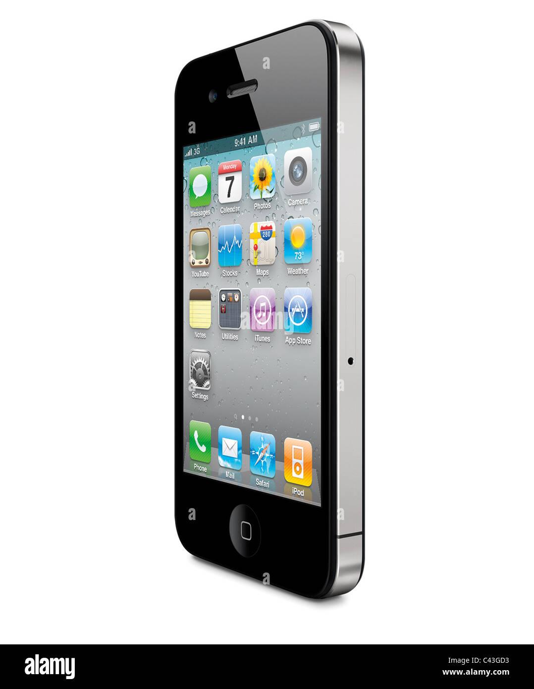iPhone 4 perspektivische Ansicht, in weißem Hintergrund ausschneiden Stockbild