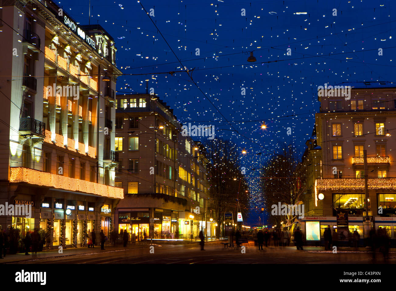 zurich town city christmas bahnhofstrasse stockfotos. Black Bedroom Furniture Sets. Home Design Ideas