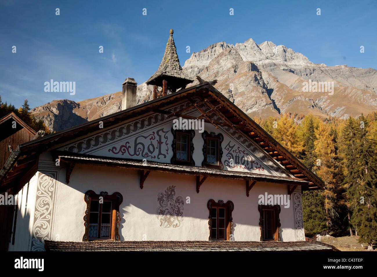 Berggasthaus, Choglias, Gasthaus, Gasthof, Graubünden, Graubünden, Herbststimmung, Schweiz, Europa, Sent, Stockbild