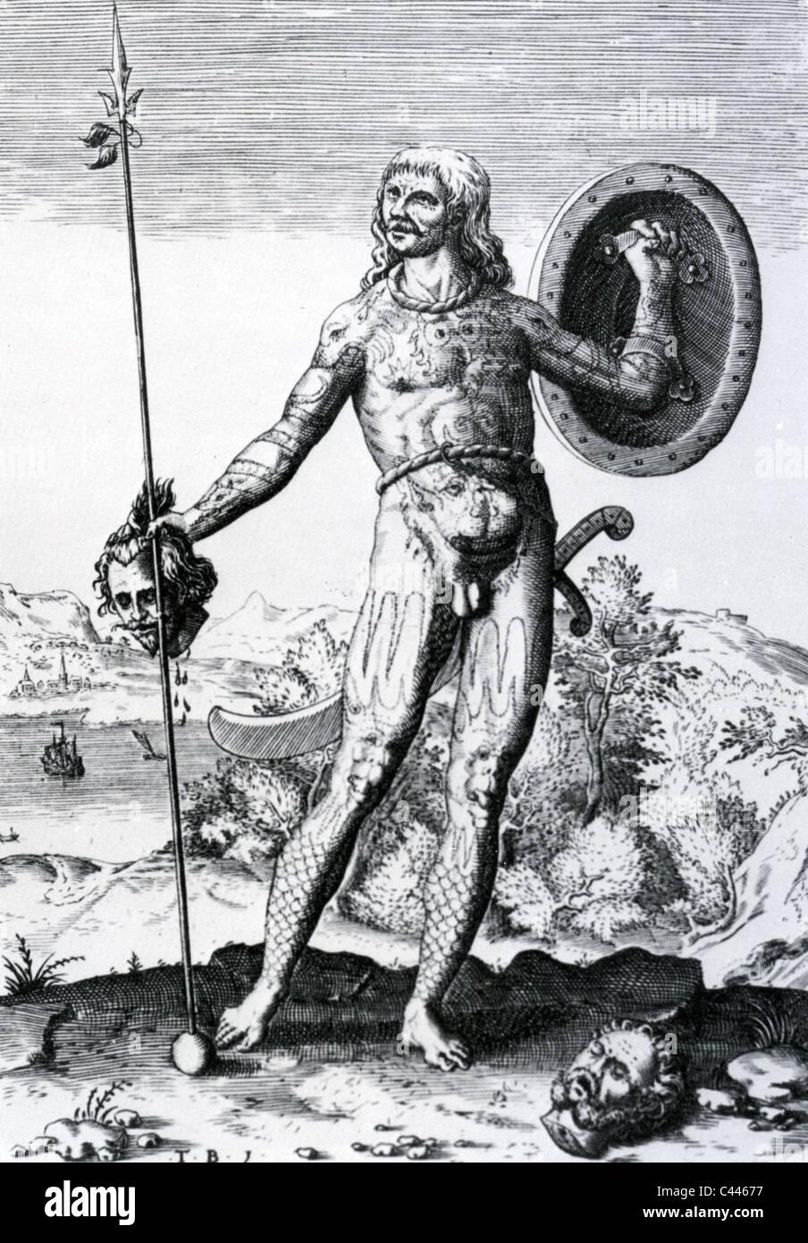 PICT schottische Krieger wie in einer Abbildung aus dem 16. Jahrhundert Stockbild