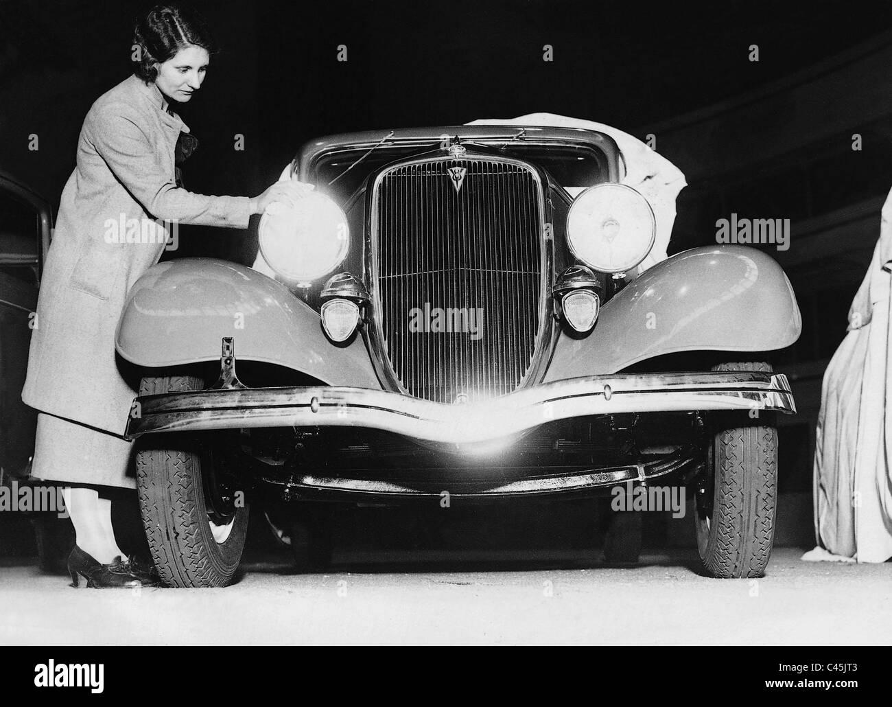 Vorbereitungen für die motor Show, 1934 Stockbild
