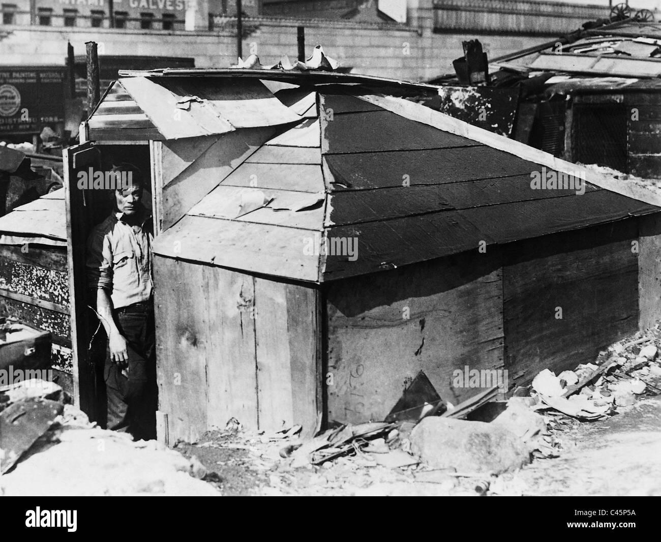 Hölzerne Schuppen in einem Slum in New York während der Weltwirtschaftskrise 1931 Stockfoto
