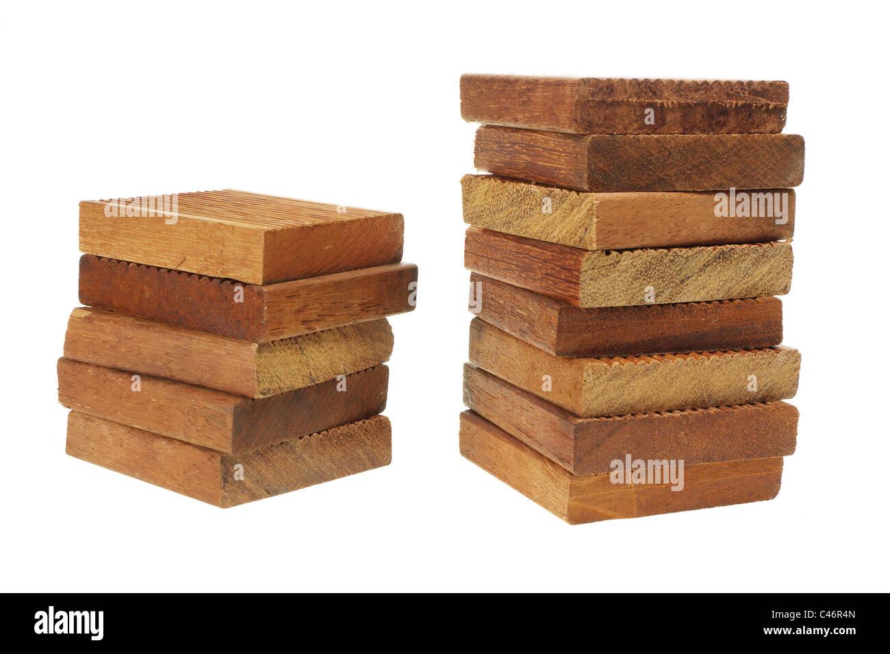 Stapel von Holzpflaster Stockbild