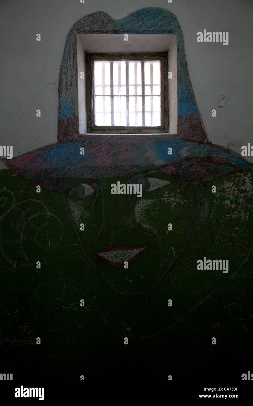 Malerei in einer Zelle im historischen Gefängnis in Ushuaia, Argentinien Stockbild