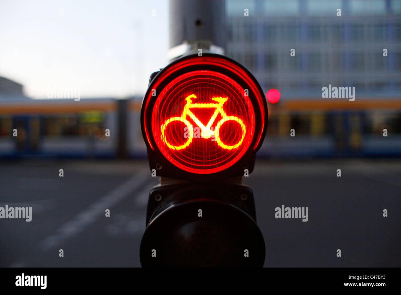 Fahrrad-Ampel in der Innenstadt von Leipzig Sachsen Ostdeutschland Stockfoto