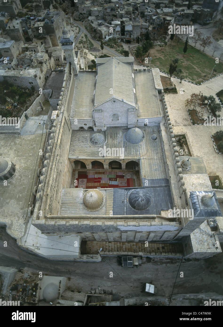 Luftaufnahme des Haram el Kahalil zusammengesetzte innerhalb der modernen Stadt Hevron Stockbild