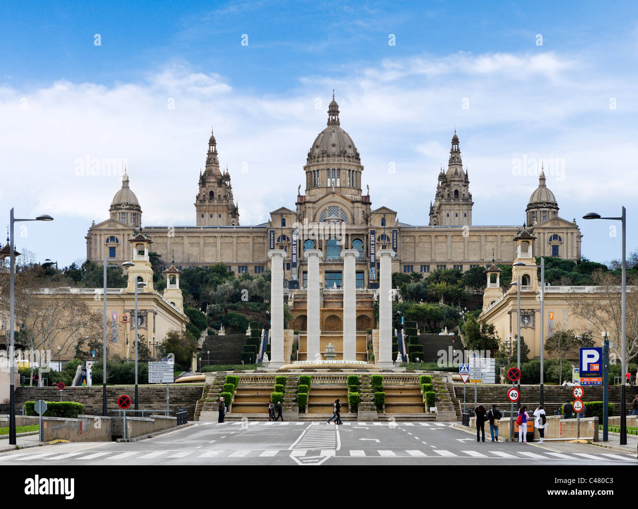 Der Palau Nacional, Montjuic, Barcelona, Katalonien, Spanien Stockbild