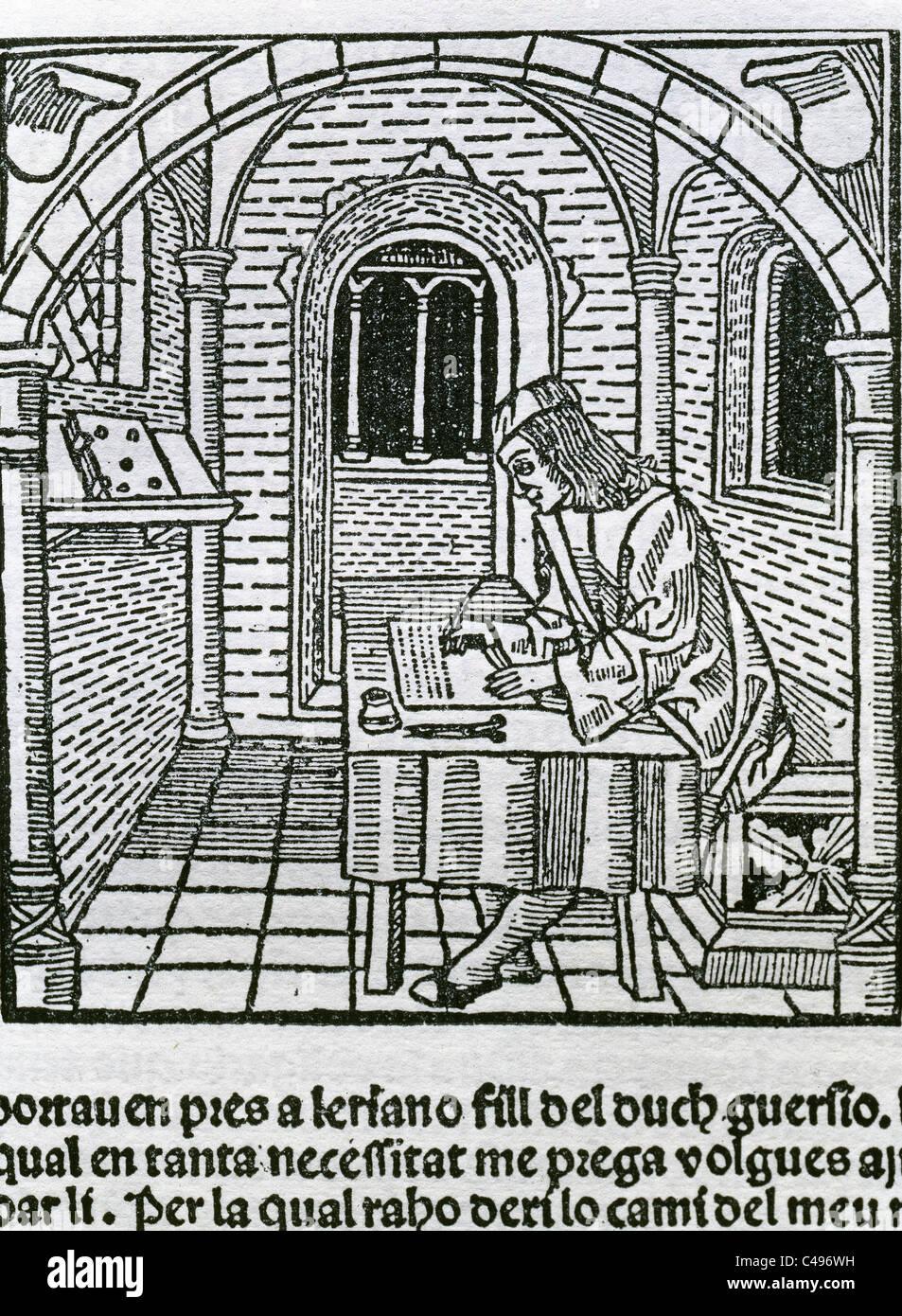 Spanische Literatur. Diego de San Pedro (ca. 1437-ca. 1498). Spanischer Schriftsteller. Das Gefängnis der Liebe, Stockbild