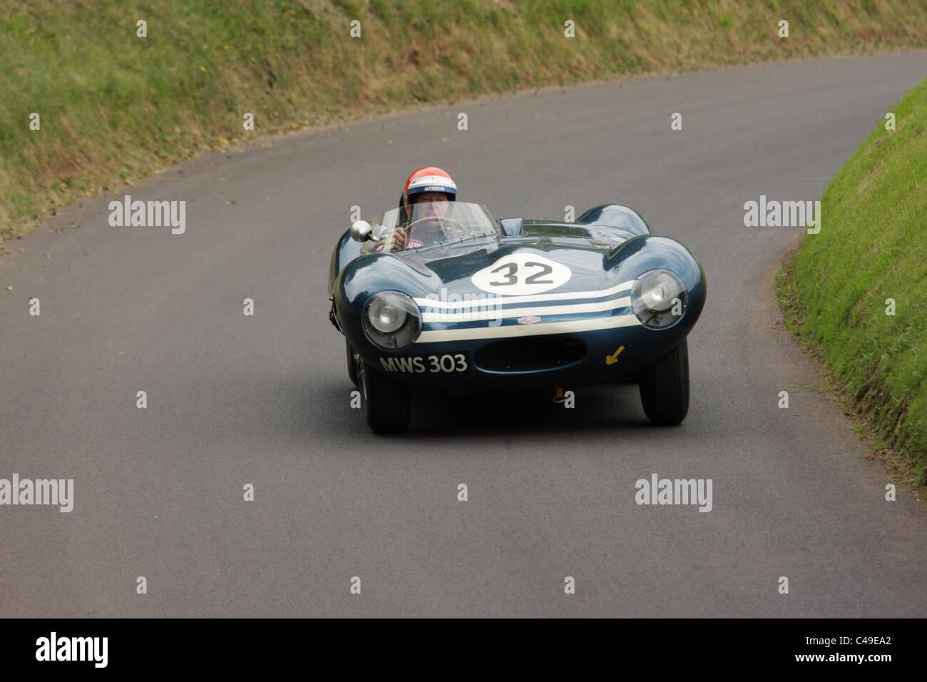 Jaguar D-Type Shelsley Walsh Hill climb, Worcestershire, England, Vereinigtes Königreich, während die Stockbild