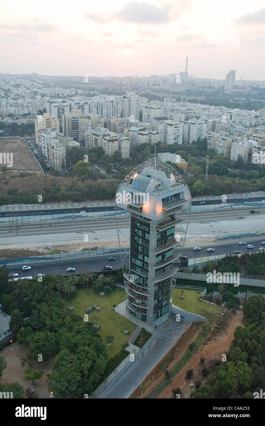 Luftaufnahme eines einzigartigen Wohnhauses in Ramat Gan Stockbild