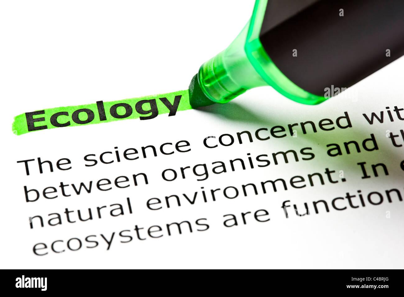 """Das Wort Filzstift """"Ökologie"""" markiert in grün mit Spitze Stockbild"""