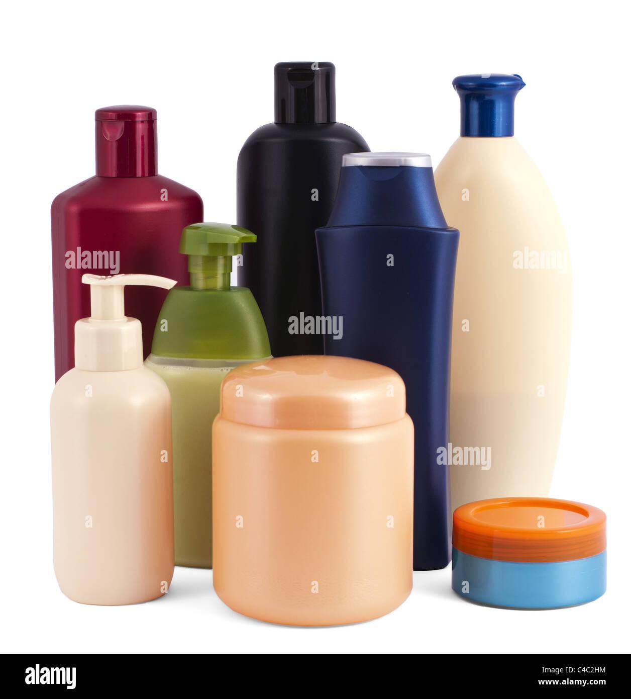 Kosmetikflaschen isoliert auf weiss Stockbild