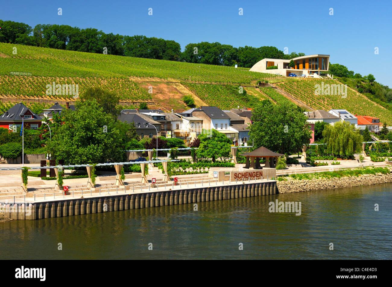 Bootssteg und Weinbergen an der Mosel in Schengen, Luxemburg Stockbild