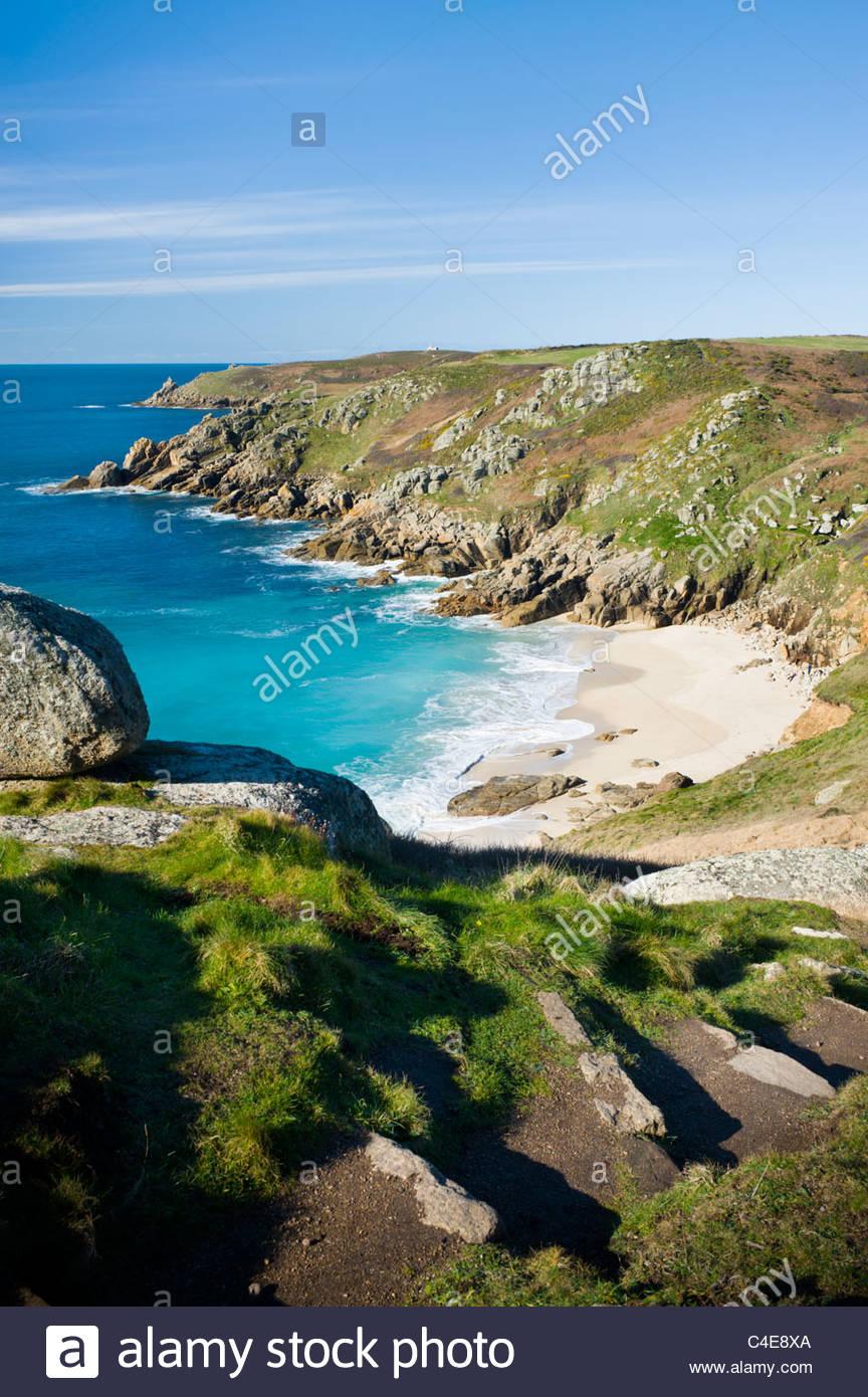 Porth Kapelle Strand, in der Nähe von Porthcurno, Cornwall, England. Stockbild