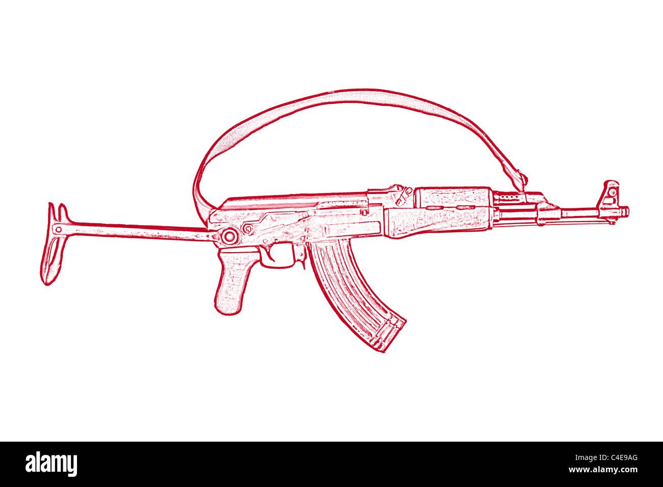 Kalaschnikow Ak 47 Ist Eine Russische Assualt Waffe Stockfoto