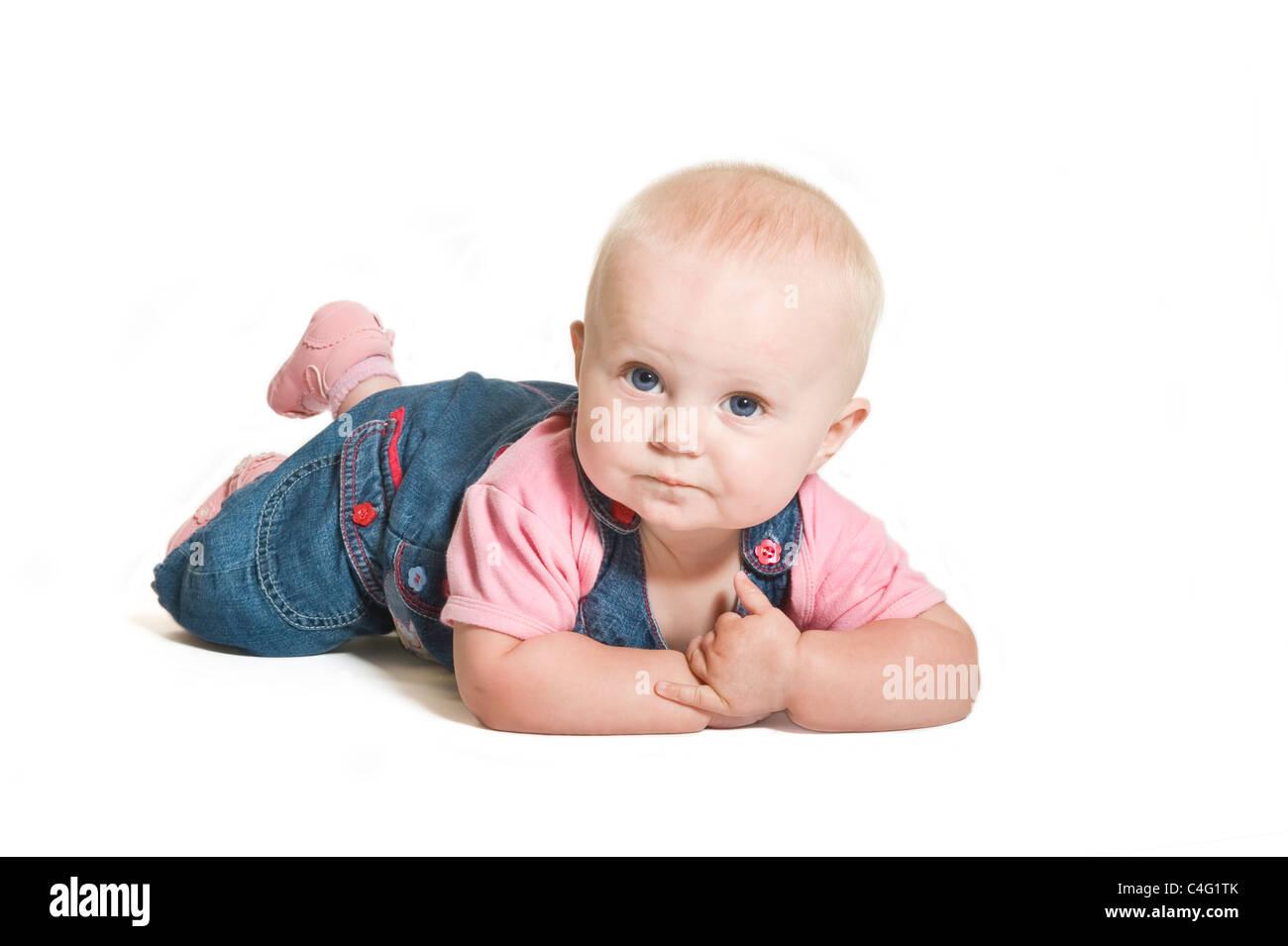 ein nettes 1 jahr alten baby m dchen mit blauen augen. Black Bedroom Furniture Sets. Home Design Ideas