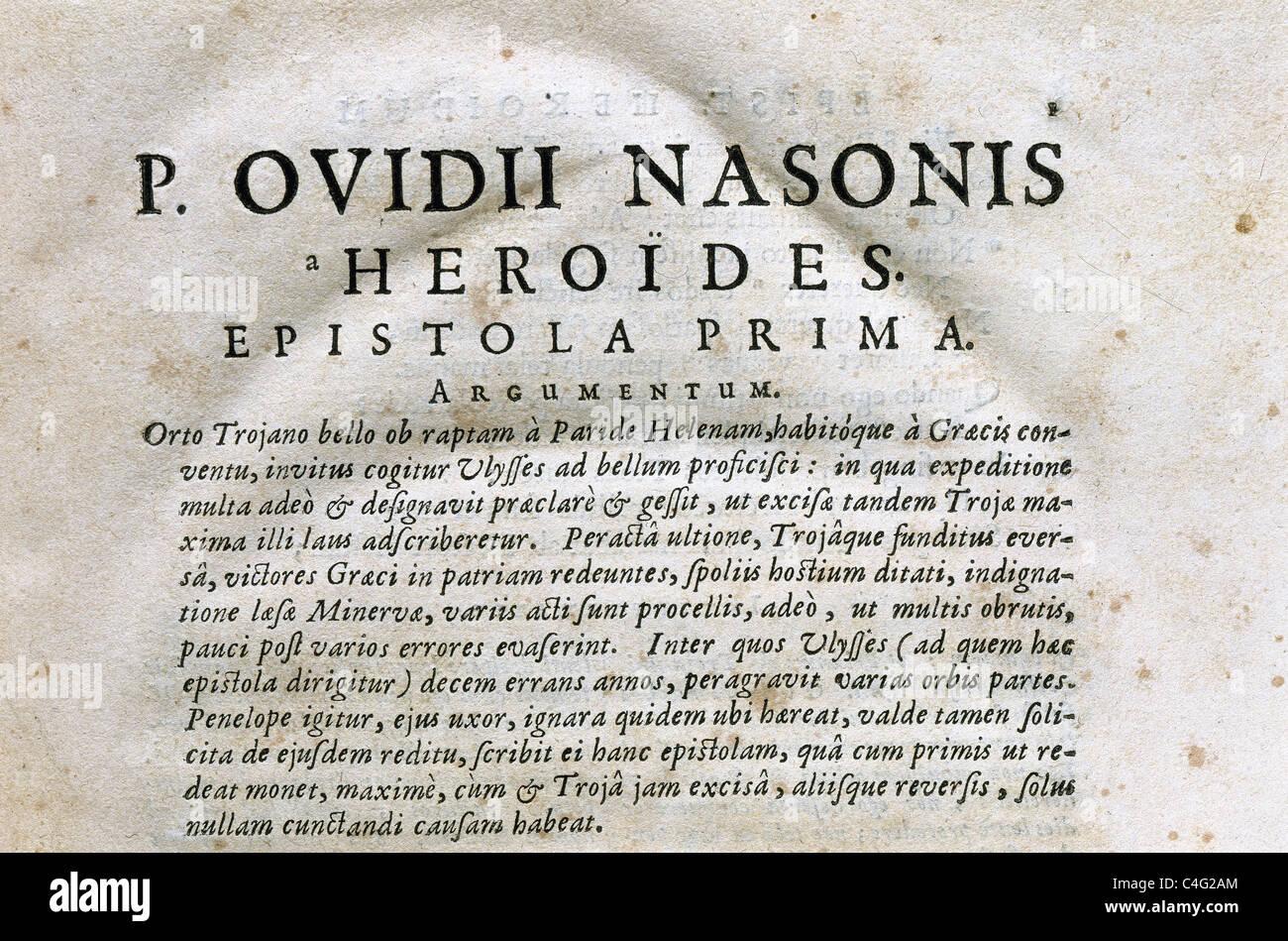 """Publius Ovidius Naso (43 B.C.-17/18 A.C.), als Ovid bekannt. Die Heroides (""""Heldinnen"""") oder Epistulae Heroidum. Stockfoto"""