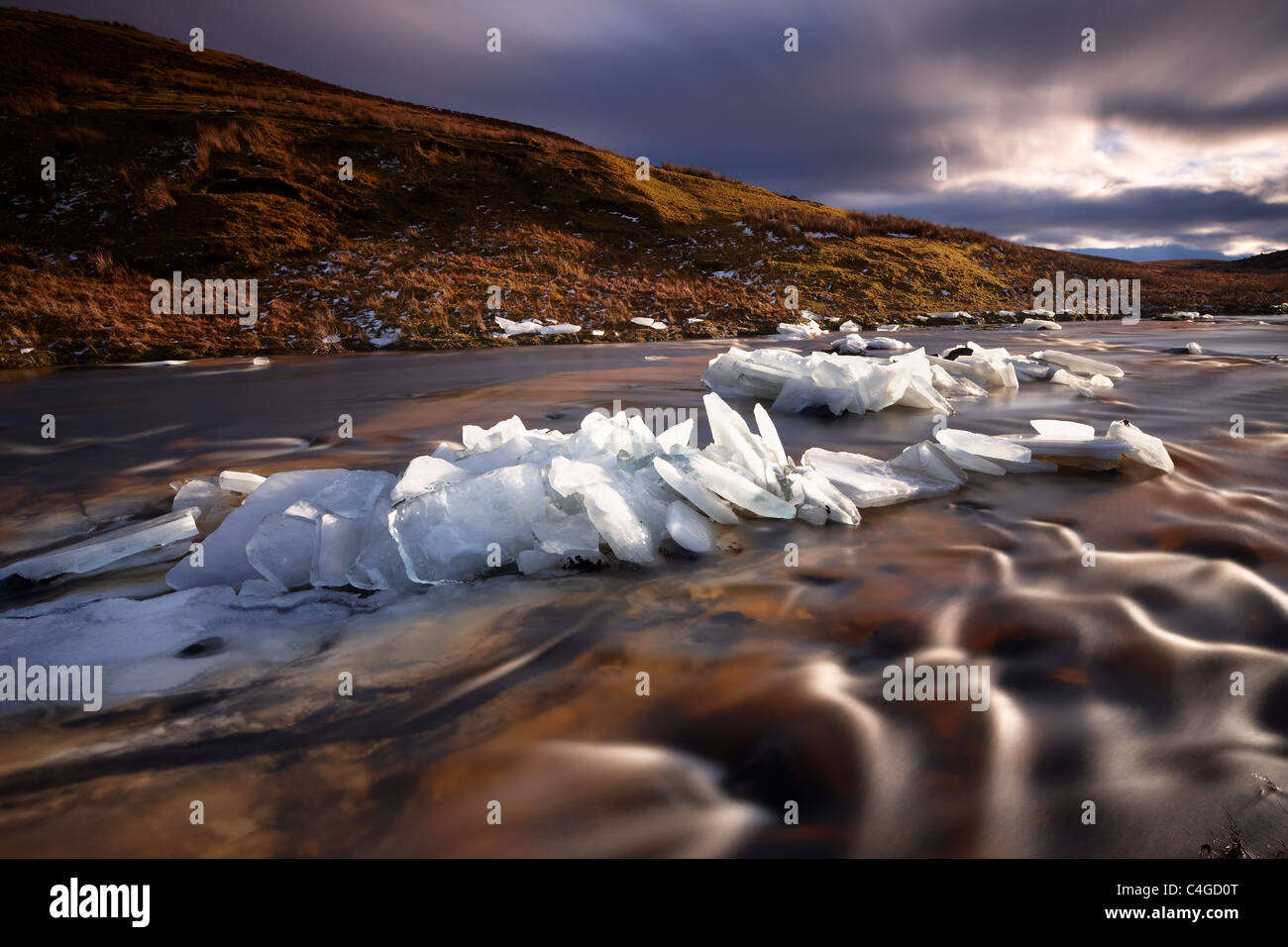 Eis auf Glen Bracadale, Isle Of Skye, Schottland, UK Stockbild