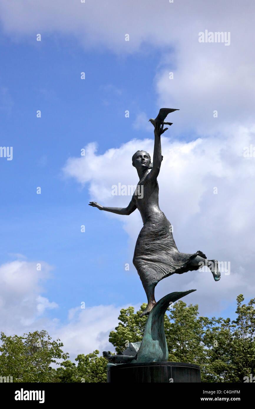 Nereid Statue Bronze, von Nathan David, Kingsway, Cardiff, Wales, UK, GB, Großbritannien Stockfoto