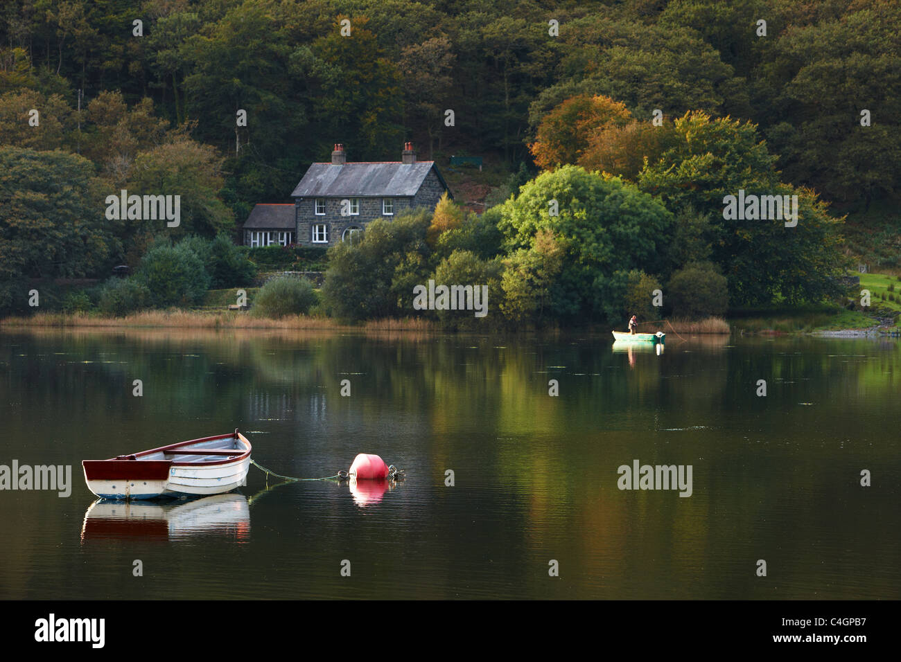 Tal-y-Llyn mit Fischer, Gwynedd, Snowdonia, Wales Stockbild