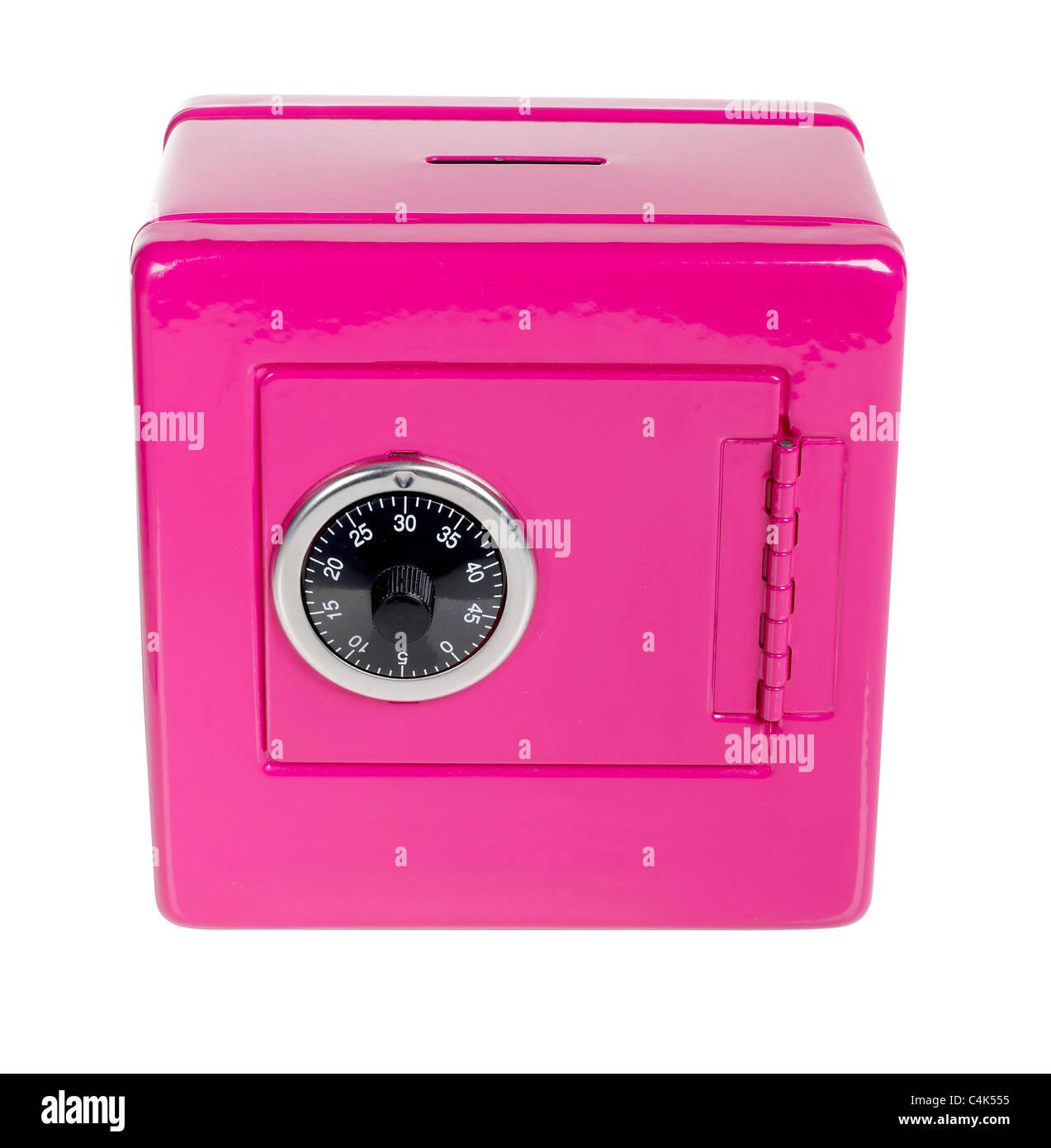 Rosa sichere bank Stockbild
