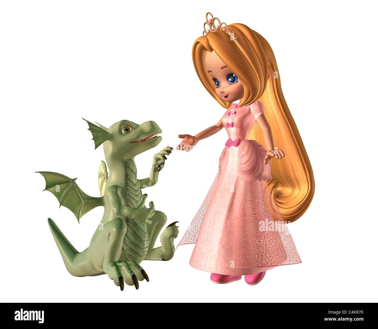Toon-Prinzessin und Baby-Drachen Stockbild