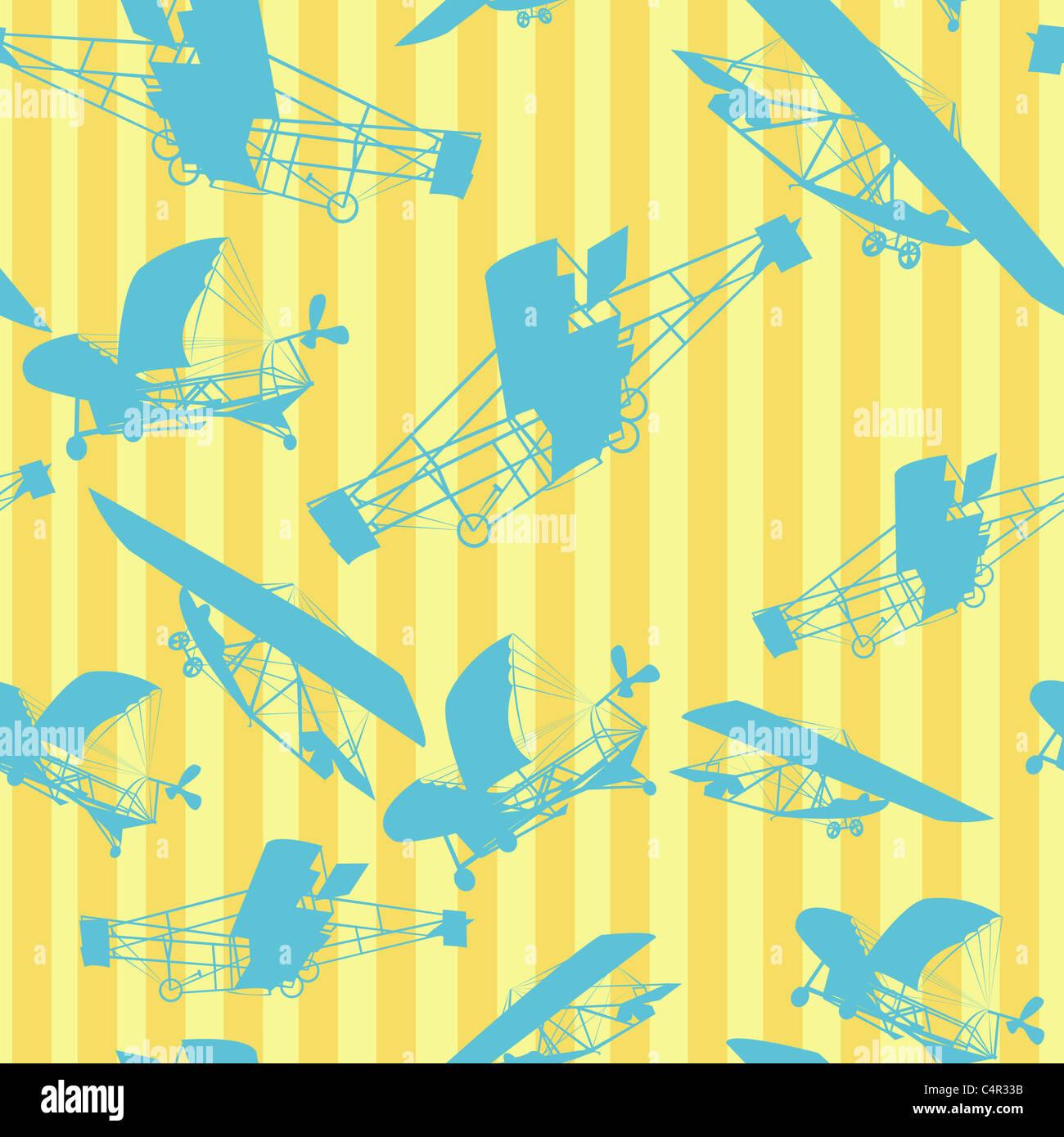 Dekorative Layout mit alten Flugzeugen Silhouetten, nahtlose Muster Stockbild
