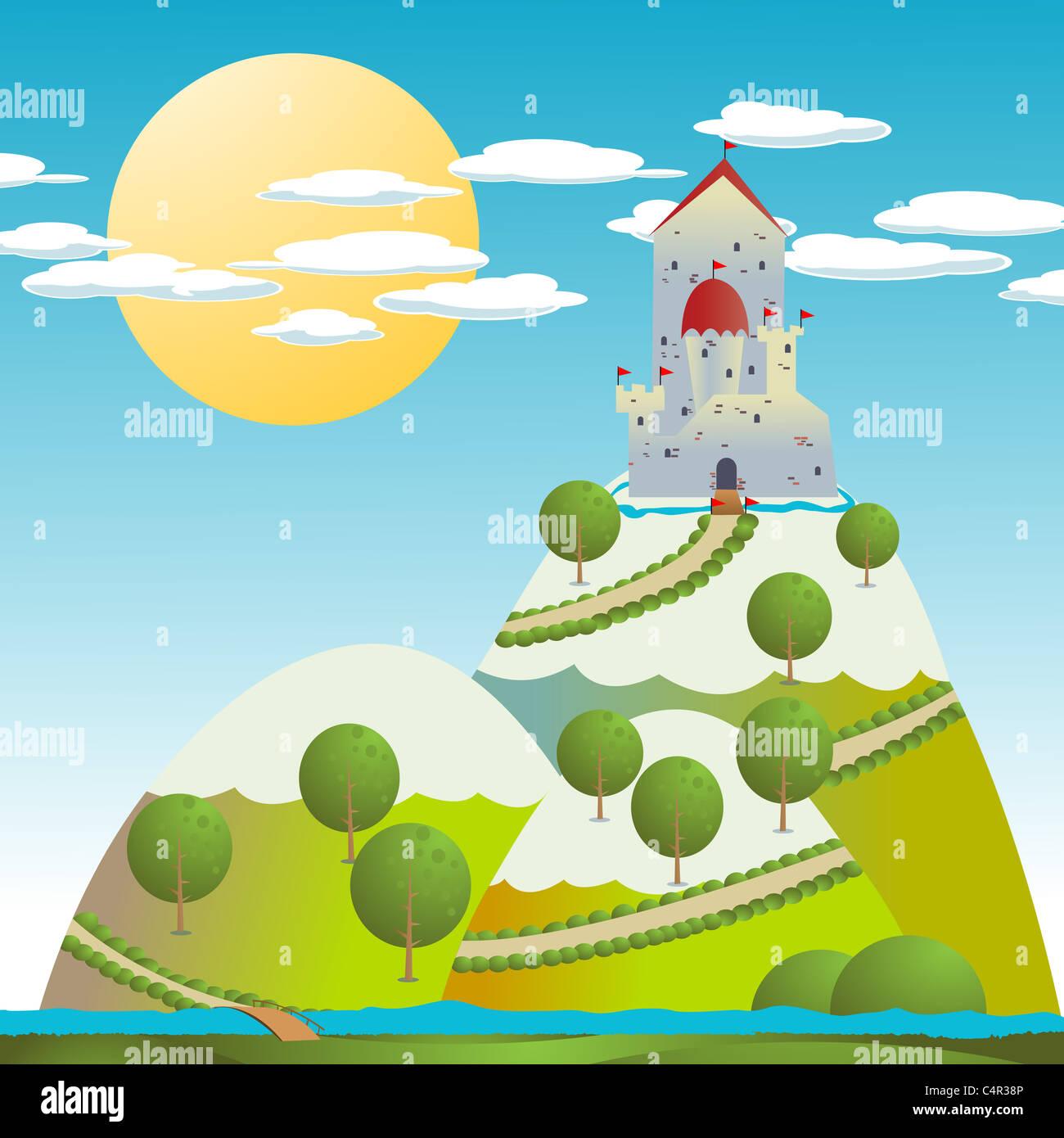 Cartoon-Hintergrund mit einer mittelalterlichen Burg Stockbild